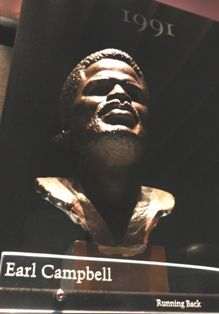 "Photograph of the bust of Earl Campbell, the ""Tyler Rose"", in the Pro Football Hall of Fame gallery, Canton, Ohio"