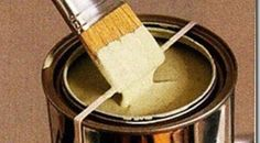Wrap your paint can with a large rubber band so that you don't get paint all over the sides of can and rim.