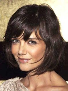 Katie Holmes, medium bob, layers, bangs