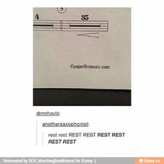 Why is there a 4 measure rest then the 35 measure rest? Music Jokes, Music Humor, Funny Music, Marching Band Memes, Choir Memes, Orchestra Humor, Band Problems, Band Jokes, Band Nerd