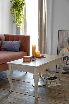 """Wow, cheap (149.00) and good as fire place bench or coffee table. Only 16"""" deep, so personaly I would use it in front of a fire place. Could paint it too if you wanted, but I like this finish on natural or blue and white rug.  Plum & Bow Bella Coffee Table - Urban Outfitters"""