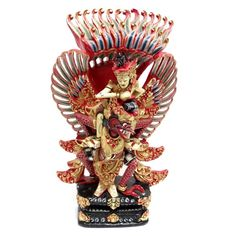 Vintage Garuda & Vishnu 16 inch, Carved Wooden Sculpture, Polychrome Balinese Temple Guard, Hindu and Buddhist Mythology, Mythical Red Bird Sculpture at VintageArtAndCraft