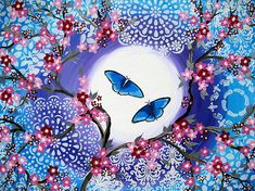 Butterfly painting by SheerJoy on Etsy (spell it as one word and you'll find it!)   love the sakura and abstract patterns on this canvas