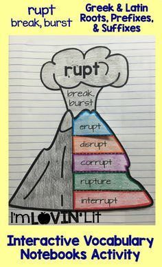Rupt - Break, Burst; Greek and Latin Roots, Prefixes and Suffixes Foldables; Greek and Latin Roots Interactive Notebook Activity by Lovin' Lit