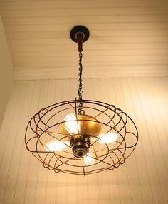 Light fixture repurposed from antique fan.
