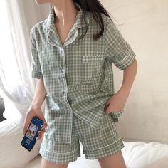 Plaid Pajamas, Cute Pajamas, Pajamas Women, Cute Pajama Sets, Pajama Outfits, Pajama Shorts, Cute Sleepwear, Plaid Shorts, Korean Outfits