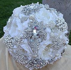 White Crystal Embellished Bridal Brooch Bouquet