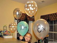 New Year's Eve Countdown.put a note inside each balloon and do what it says at that hour.bake cookies, make a toast, sing a song, etc. This could be a fun sleepover game too! I like it for the sleepover/party idea! Holiday Crafts, Holiday Fun, Holiday Wishes, Holiday Ideas, Lila Party, New Year's Eve Countdown, Countdown Ideas, Birthday Countdown, Baby Dekor