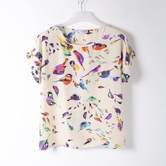 New fashion 2014 Hot Sale Women Bird Feathers Colorful Chiffon blouse shirt lady fashion Batwing short sleeve Loose Blouse S XL-in Blouses & Shirts from Apparel & Accessories on Aliexpress.com | Alibaba Group