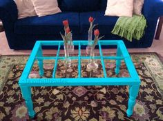 8-pane window turned into into a Shabby chic green coffee table... repurposing old, 6-pane and 8-pane windows