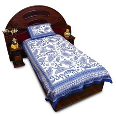 Jaipuri Print Cotton Single Bedsheet Pillow Set 412