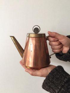Copper Brass Coffee Pot Handle Pitcher Brass Copper Pot Vintage Home Decor 50s 60s Tea Pot Drinkware Brass & Copper Coffee Pot Midcentury