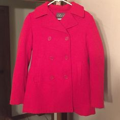 NWOT Red Double-Breasted Peacoat Brand new--never worn. My mom got this for me and it was too small. Size small. Bought from Dillard's--brand is called R&O. Cherry red color. Very warm! Jackets & Coats Pea Coats