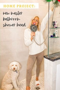 Are you looking for an easy way to update your bathroom? Why not install a new shower head with a handheld sprayer? It is the best mini project ever! #bathroomupdate #showerhead #easybathroomupdate #deltashowerhead