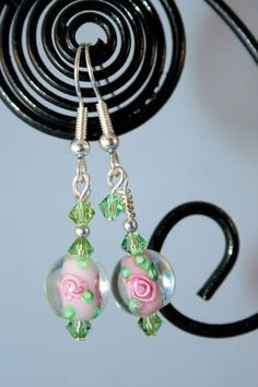 Dainty Pink & Green Earrings. Starting at $3 on Tophatter.com!