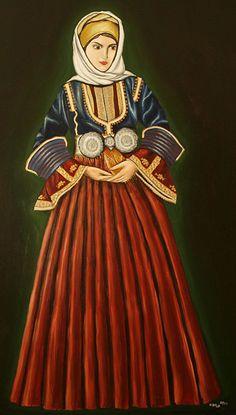 Greek Traditional Dress, Traditional Outfits, Ancient Greek Costumes, Greek Dress, Greek Clothing, Folk Costume, Folk Art, Greece, Greek Apparel