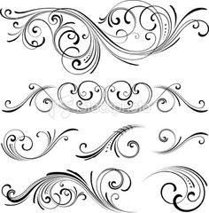 Fancy scroll designs Royalty Free Stock Vector Art Illustration-would go nicely with edwardian script lettering
