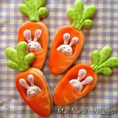 Yummy Carrot Cookies for Easter Fancy Cookies, Cute Cookies, Easter Cookies, Holiday Cookies, Cupcake Cookies, Carrot Cookies, Iced Cookies, Cookies Et Biscuits, Sugar Cookies
