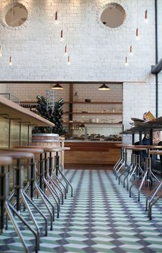 floor tiles, cafe styling