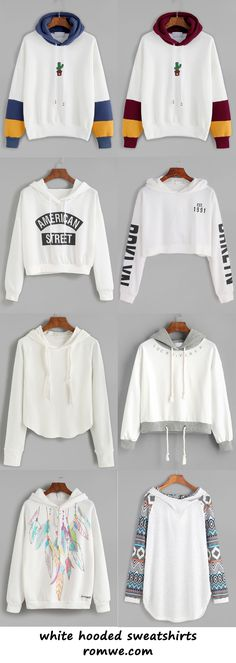 white hooded sweatshirts 2017 - romwe.com