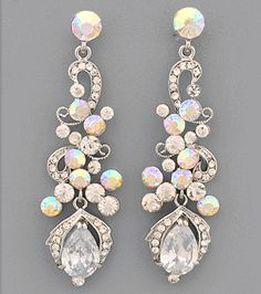 Cz Stone Iridescent Tail Earrings