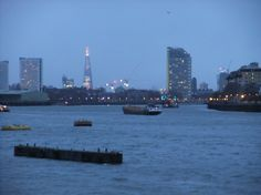 Photographed by Anthony Sargeant at dusk from Greenwich Pier looking up-river towards the Shard at London Bridge. pm on the February via The River Thames at dusk The Shard, London Bridge, South London, River Thames, Landscape Photographers, Looking Up, Dusk, San Francisco Skyline, New York Skyline