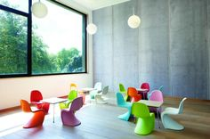 Colourful Panton Chairs in the Musée de la Photographie in Charleroi, Belgium,