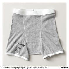 "Men's Melancholy Spring Day Baby Rib Boxer Brief.  Men's American Apparel Baby Rib Boxer Brief with original micropoetry that captures the melancholy of the human soul as it is reflected in the enduring seasonal relationships of nature. Poem reads: ""Melancholy spring day / Has pulled a grey blanket / Over its head / Bidding the sun / To go away / All the colours have fled"" © Eleanor D'Occitania"