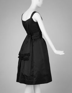 RISD Museum: Christian Dior, French, 1905-1957. Dress, Fall/Winter 1954. Silk; satin weave. Center back length: 106.7 cm (42 inches). Gift of Ronald and Lillian Dick 2001.83.17