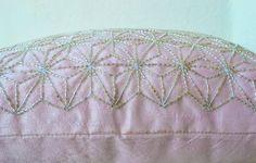 Pink throw pillow with silver embroidered hemp leaf - Sashiko pillow - | AmoreBeaute - Housewares on ArtFire