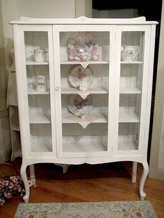displaying china in a cabinet | Vintage Shabby Chic Glass Display ...