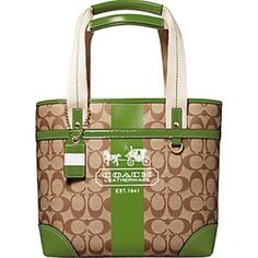 Coach Heritage Green Stripe Signature Tote Bag Green stripe coach bag. Some wear and tear mark. Some pen ink on inside. Coach Bags Shoulder Bags