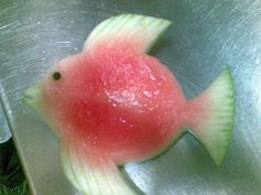 Fish made out of watermelon. Awesome!