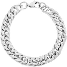 Stainless Steel Men's 10-mm Curb Link Bracelet ($21) ❤ liked on Polyvore featuring men's fashion, men's jewelry, men's bracelets, silver, mens stainless steel chains, mens curb chain, mens chains, mens thick gold chains and mens watches jewelry