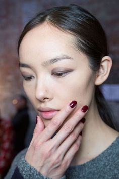 Jin Soon used Audacity, a deep wine shade, backstage at Lam.    - HarpersBAZAAR.com -nailetiquette -glossdossier