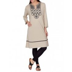 Gray Tunic with Embellished Yoke