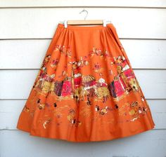 1950s Style Novelty Skirt - M/L - Vintage Rockabilly Squaw Style Square Dance Orange Print Skirt with Market Scene and Sequins