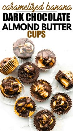 Dark Chocolate Almond Butter Cups with Caramelized Banana
