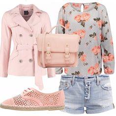 Per una donna che vuole essere casual e romantica, questo outfit richiama i colori pastello del rosa, e le stampe floreali, tanto in voga quest'anno!Adatto al tempo libero!
