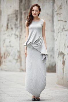 Asymmetric Dress Sexy Dress For Women in Light Grey - NC728