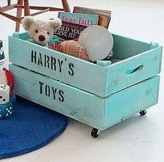 toy-storage-tips-and-tricks  Wood Crate for Toys   Distress a wooden crate to make it look vintage and add wheels to the bottom. Fill it with their toys. What fits in the toy crate, is their's. They can choose to share.