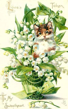 vintage postcard with Lily of the Valley ~ 1908