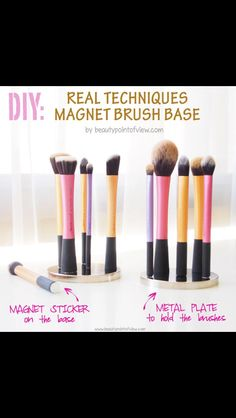 DIY brush holder for real techniques make up brushes...PERFECTION! So hard to store my RT brushes in my holder