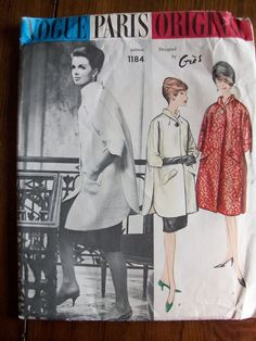1960s VOGUE SEWING PATTERN ~PARIS ORIGINAL~ GRES ~ COAT #60s #retro #vintage