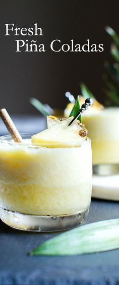 Fresh Homemade Pina Colada : Refreshing, packed with whole foods, a little booze and a touch of sugar, I'm sharing my tips on how easy it is to make homemade Fresh Pina Colada! Frozen Pina Colada, Pina Colada Cocktail Recipe, Best Vegetarian Recipes, Whole Food Recipes, Healthy Recipes, Cocktails, Cocktail Recipes, Gourmet, Pina Colada