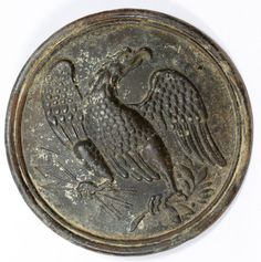 Lot 560: Civil War Brass Chest Badge; Having an eagle holding three arrows