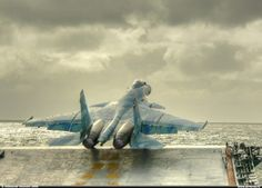 Su-33 taking off a carrier.