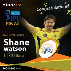 Shane Watson wins the Man of the Match award for his sensational 117 not out off 57 balls. Man Of The Match, The Man, Shane Watson, Cricket, Finals, Balls, Congratulations, Cricket Sport, Final Exams