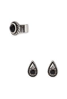 Faux Stone Earcuff & Earring Set | Forever 21 - 1000129909