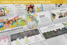 Puzzle - Education Keynote Template by SlideFactory on Envato Elements Presentation Design Template, Powerpoint Presentation Templates, Keynote Template, Design Templates, Image Layout, Social Activities, Website Design Inspiration, Banner Template, Color Themes